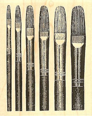 Filbert Brushes, Wood Mounted Rubber Stamp IMPRESSION OBSESSION - NEW, G13306