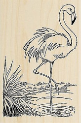 FLAMINGO Bird In Water Wood Mounted Rubber Stamp Stampendous Stamp P250 NEW