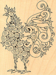 Floral Rooster Leigh Hannan Wood Mounted Rubber Stamp Impression Obsession NEW