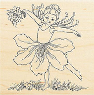 Flower Fairy Dance Wood Mounted Rubber Stamp Stampendous Stamp W148 NEW