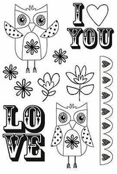 Flower Owl I Love U Suga Pop 10 Clear Unmounted Rubber Stamps by Kaisercraft NEW