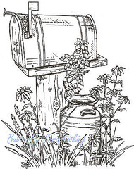 Flower Rural Mailbox Scene Wood Mounted Rubber Stamp Northwoods Rubber Stamp New