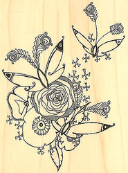 Flowers & Butterfly Wood Mounted Rubber Stamp Impression Obsession Hannah Davies