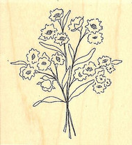 Flowers Bouquet, Wood Mounted Rubber Stamp IMPRESSION OBSESSION - NEW, D9677