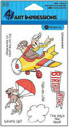 Flying High Set Clear Unmounted Rubber Stamps Art Impressions NEW - SC0649