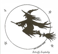 Flying Witch And Full Moon, Wood Mounted Rubber Stamp New NORTHWOODS - M7521