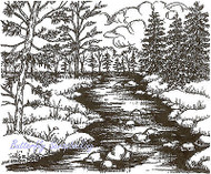 Forest Stream & Pines Scene Wood Mounted Rubber Stamp NORTHWOODS P9542 New