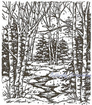 Forest Stream, Wood Mounted Rubber Stamp NORTHWOODS - NEW, P1939