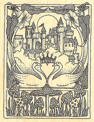 Framed Castle Swan Love Wood Mounted Rubber Stamp Impression Obsession H1813 NEW