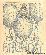 Froggy Birthday, Wood Mounted Rubber Stamp IMPRESSION OBSESSION - NEW, G1968
