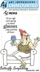 FUNNY Age Glasses Celeste Set Cling Unmounted Rubber Stamps Art Impressions NEW