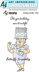 FUNNY Birthday Hat Set Cling Unmounted Rubber Stamps Art Impressions 4373 NEW