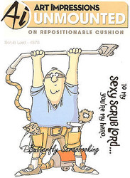 FUNNY Men Scrub Lord Set Cling Unmounted Rubber Stamps Art Impressions 4376 NEW