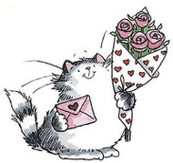 Furry Cat Love Valentines Day Wood Mounted Rubber Stamp PENNY BLACK 3102J New
