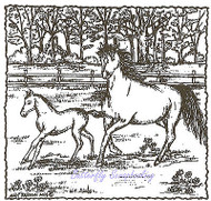 Galloping Horses Mare Foal Wood Mounted Rubber Stamp NORTHWOODS Stamp PP9522 New