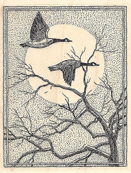 Geese With Tree And Moon Wood Mounted Rubber Stamp IMPRESSION OBSESSION Bird New