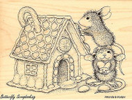 Gingerbread House HOUSE MOUSE Wood Mounted Rubber Stamp STAMPENDOUS, NEW - HMR16