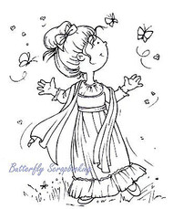 Girl Butterfly Dance Clear Unmounted Rubber Stamp Marianne Design HM9470 New