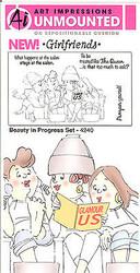 GIRLFRIENDS B Salon Unmounted Rubber Stamp Set W Cushion AI Art Impressions NEW