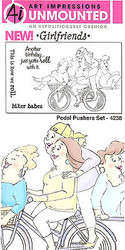GIRLFRIENDS Bike Unmounted Rubber Stamp Set With Cushion AI Art Impressions NEW