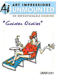 Golden Oldies Beach Babe Edna Cling Unmounted Rubber Stamp Art Impressions NEW