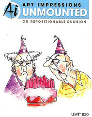 GOLDEN OLDIES Birthday Couple Cling Unmounted Rubber Stamp Art Impressions NEW