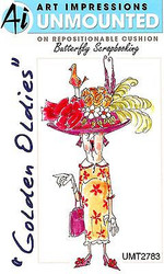 GOLDEN OLDIES Hat Lady Agnes Cling Unmounted Rubber Stamp Art Impressions NEW