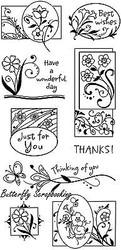 Graden Flower Greetings Clear Unmounted Rubber Stamp Set INKADINKADO 60-3012 NEW