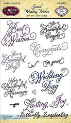 GRAND WEDDING Stamp Set Clear Unmounted Rubber Stamps by JustRight CR-02192 NEW