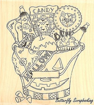 Halloween Candy Bucket Wood Mounted Rubber Stamp IMPRESSION OBSESSION H16043 New
