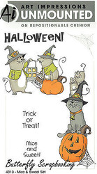 HALLOWEEN Cat & Mice Set Cling Unmounted Rubber Stamps AI Art Impression NEW