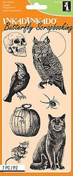 HALLOWEEN CREATURE Set Clear Unmounted Rubber Stamp Set 7 Stamps INKADINKADO NEW