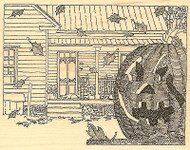 Halloween Jack Scene Wood Mounted Rubber Stamp Impression Obsession H1838 NEW