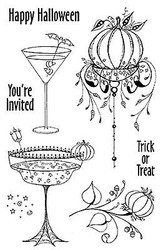 Halloween Party Drink Clear Unmounted Rubber Stamps Set Impression Obsession New