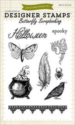 Halloween Spooky Clear Unmounted Rubber Stamps Set Echo Park  EPSTAMP32 New