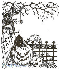 HALLOWEEN Spooky Tree And Fence Wood Mounted Rubber Stamp NORTHWOODS P2736 NEW