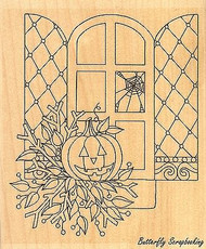 Halloween Window, Wood Mounted Rubber Stamp IMPRESSION OBSESSION - NEW, G2355