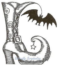 HALLOWEEN Witch Boot With Bat Wood Mounted Rubber Stamp NORTHWOODS F9816 New
