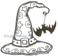 HALLOWEEN Witch Hat With Bat Wood Mounted Rubber Stamp NORTHWOODS F9815 New