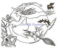 Halloween Witch Hexting on Broom Wood Mounted Rubber Stamp NORTHWOODS P9577 New