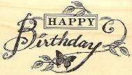 Happy Birthday, Wood Mounted Rubber Stamp IMPRESSION OBSESSION - NEW, D4388