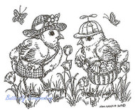 Happy Easter Hat Chicks Wood Mounted Rubber Stamp Northwoods Rubber Stamp New