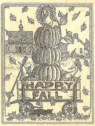 Happy Fall Pumpkin Wagon WoodMounted Rubber Stamp Impression Obsession H1891 NEW