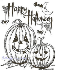 Happy Halloween Jack-o-lantern Pair, Wood Mounted Rubber Stamp NORTHWOODS- M9164