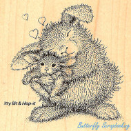 HAPPY HOPPERS Bunny Luv Rabbits Wood Mounted Rubber Stamp STAMPENDOUS HHQ03 New