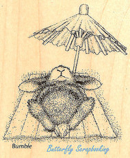 HAPPY HOPPERS Bunny Umbrella Nap Wood Mounted Rubber Stamp STAMPENDOUS HHV04 New
