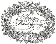 Happy Thanksgiving Oval, Wood Mounted Rubber Stamp NORTHWOODS - NEW, M3713