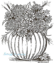 Harvest Pumpkin Floral Vase Wood Mounted Rubber Stamp Northwoods Rubber Stamp Ne