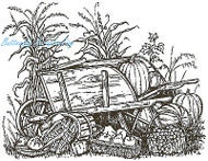 Harvest Pumpkin Wheelbarrow Wood Mounted Rubber Stamp Northwoods Stamp P787 New
