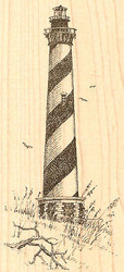 Hatteras Lighthouse Wood Mounted Rubber Stamp Impression Obsession F1174 NEW